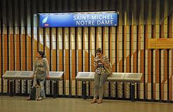 Paris France. View of train station as people wait for train, Paris, France Royalty Free Stock Photos