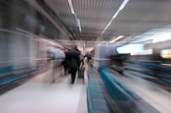 Train station with passengers Stock Photo