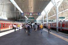 Train station platform. Trains stopped at the platform of shenyang railway station. China Royalty Free Stock Photo