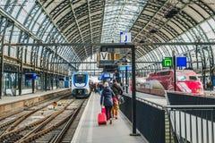 Train station platform at Amsterdam Central station Amsterda