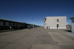 Transsiberian express train at the station in Mongolia stock photos