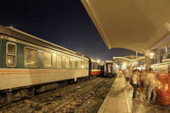 Train station platform at night Royalty Free Stock Photo