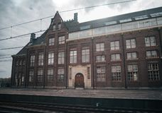 Train station platform. In vintage european style stock image