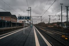 Train station platform. In vintage european style stock photography