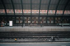 Train station platform. In vintage european style royalty free stock photo