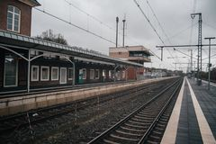 Train station platform. In vintage european style stock photo