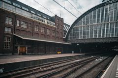 Train station platform. In vintage european style royalty free stock photography