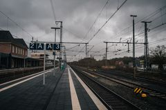 Train station platform. In vintage european style royalty free stock images
