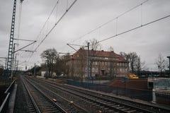 Train station platform. In vintage european style royalty free stock photos