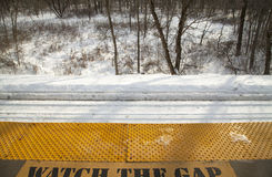 Train station platform in winter Royalty Free Stock Photography