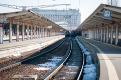 Train station platforms Royalty Free Stock Photos