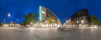 Train Station Plaza in Hannover. Panorama. Royalty Free Stock Images
