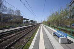 Train station. Railroad tracks train. Rails Stock Photo