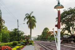 Train station and railway. Beautiful train station and railway is look older Royalty Free Stock Photography