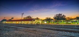 Train station. Railway station at night in Thailand Royalty Free Stock Photography