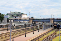 Train Station. Railway station in the summer in Europe Royalty Free Stock Photography