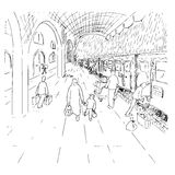 A train, the station and the rain. Illustration of a train station in the rain, black and white version. Useful also for educational or coloring books for kids Stock Photos