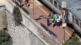 Train Station in Riomaggiore (1 of 5). Scenes of the Italian coastal town Riomaggiore stock video footage