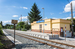 Train station of Rokycany at Czech Republic. A view of the train station of Rokycany at Czech Republic with a board reading the number 50 in the forefront Royalty Free Stock Images