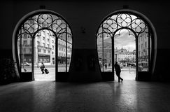 Train station Rossio. Old city of Lisbon. Portugal. black and white. Train station Rossio. Old city of Lisbon. Portugal. A look from the inside to the outside of stock photography