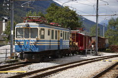 Train station of Santa Maria Maggiore in Italy. Domodossola's to Locarno historic railway Royalty Free Stock Photo