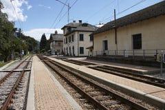 Train station of Santa Maria Maggiore in Italy. Domodossola's to Locarno historic railway Stock Images
