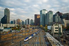 Train station in seoul city. South Korea Royalty Free Stock Image