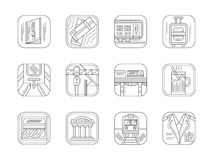 Train station and service flat line icons Stock Photography