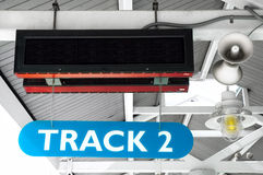 Train station sign. A LED train station sign with speakers and a light to announce your arrival or departure.  Add your copy to the LED signage Royalty Free Stock Image