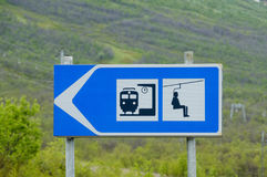 Train station and ski lift signs Royalty Free Stock Photography