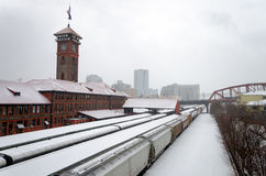 Train Station and Snow Stock Image