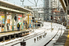 Train station after snow storm Royalty Free Stock Photo