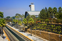 Train Station, Southern California. The train station at Solana Beach in the north coast of San Diego County, Calfornia, serves the Amtrak Pacific Surfliner Stock Photos
