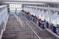 Train station stairs. Zhuhai, China - August 4, 2013: train station staris in Zhuhai railway station, Guangdong China Royalty Free Stock Photography