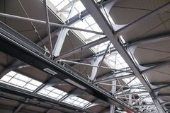 Structure of the roof made of steel and glass stock photos