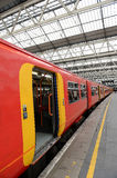 Train at Station. A train stopped at Waterloo Train Station,London,England Stock Photo