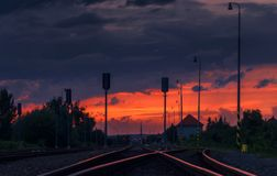 Train station after storm stock images