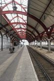 Train station structures in an empty station in Malmo, Sweden.  Royalty Free Stock Photography