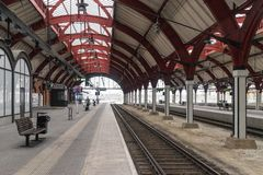 Train station structures in an empty station in Malmo, Sweden.  Stock Photos