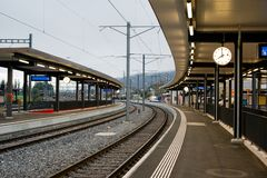 Train station during sunrise Stock Images