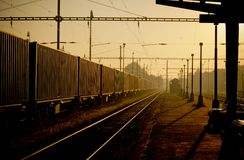Train station during sunrise in Havirov Royalty Free Stock Photo
