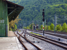 Train station surrounded by nature Stock Photos