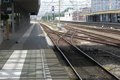 Train station with switch tracks Stock Photos