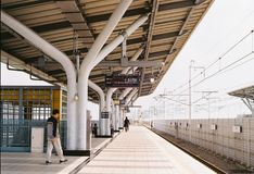 Train station @Taiwan. By film camera Royalty Free Stock Photos