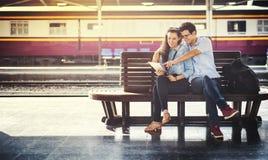 Train Station Terminal Transportation Couple Trip Concept Royalty Free Stock Photo
