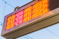 Train station time board Royalty Free Stock Photo