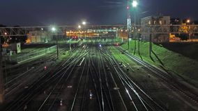 Train Station, time-lapse. Train Station, night time- lapse stock footage