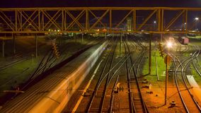 Train Station, time-lapse. Train Station, night time - lapse stock video