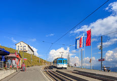 Train station on the top of Mt. Rigi in Switzerland Royalty Free Stock Images