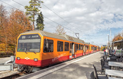 Train at the station on the top of Mt. Uetliberg Royalty Free Stock Image